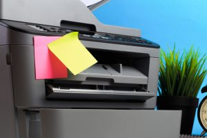 Printer, copier, scanner on color background